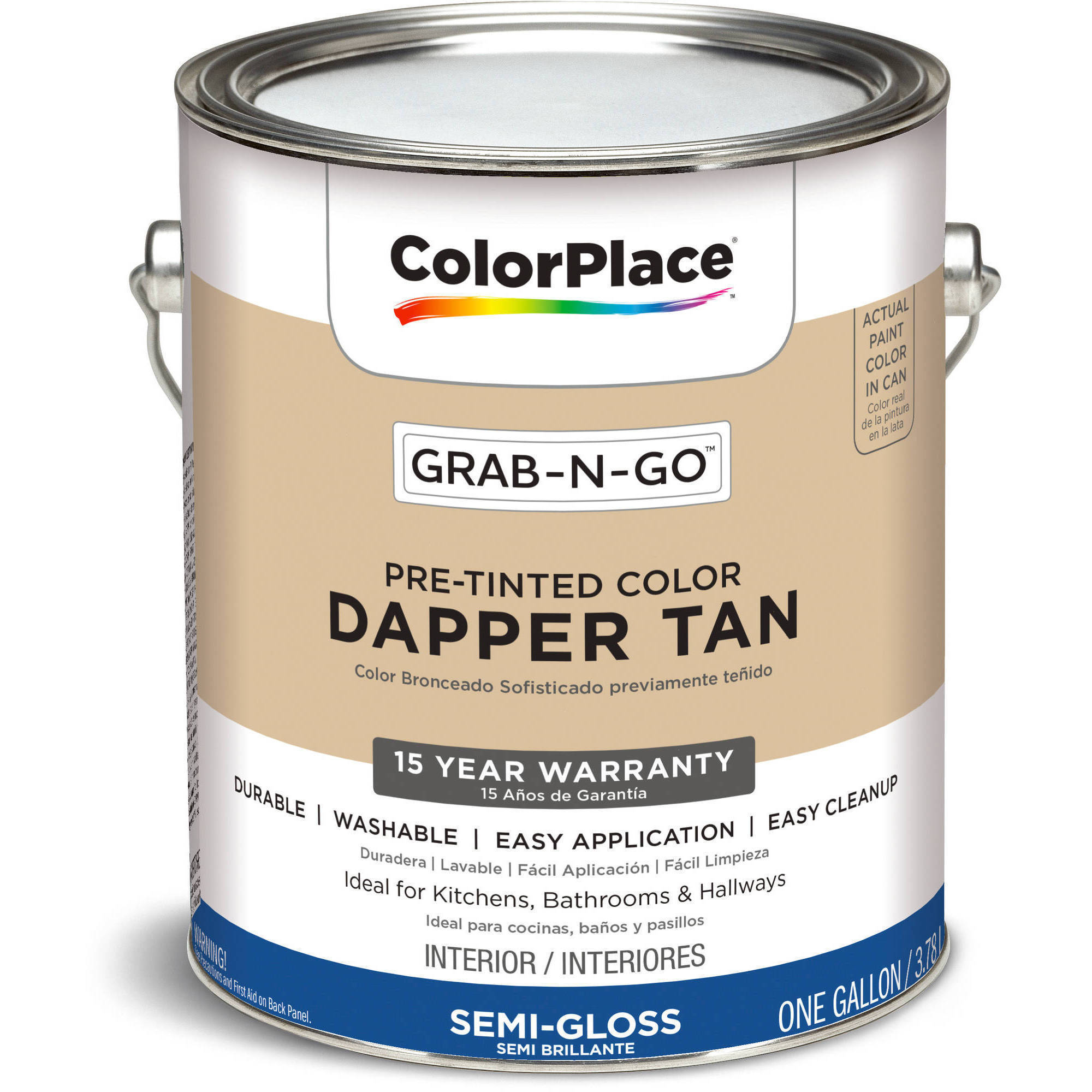 colorplace grab n go dapper tan semi gloss interior paint 1 gallon at tool realm. Black Bedroom Furniture Sets. Home Design Ideas