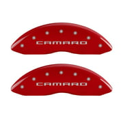 MGP 4 Caliper Covers Engraved Front Gen 5/Camaro Engraved Rear Gen 5/RS Red finish silver ch