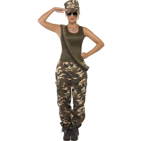 Womens  Khaki Camo Drill Sergeant Army Warrior - Army Women Costume
