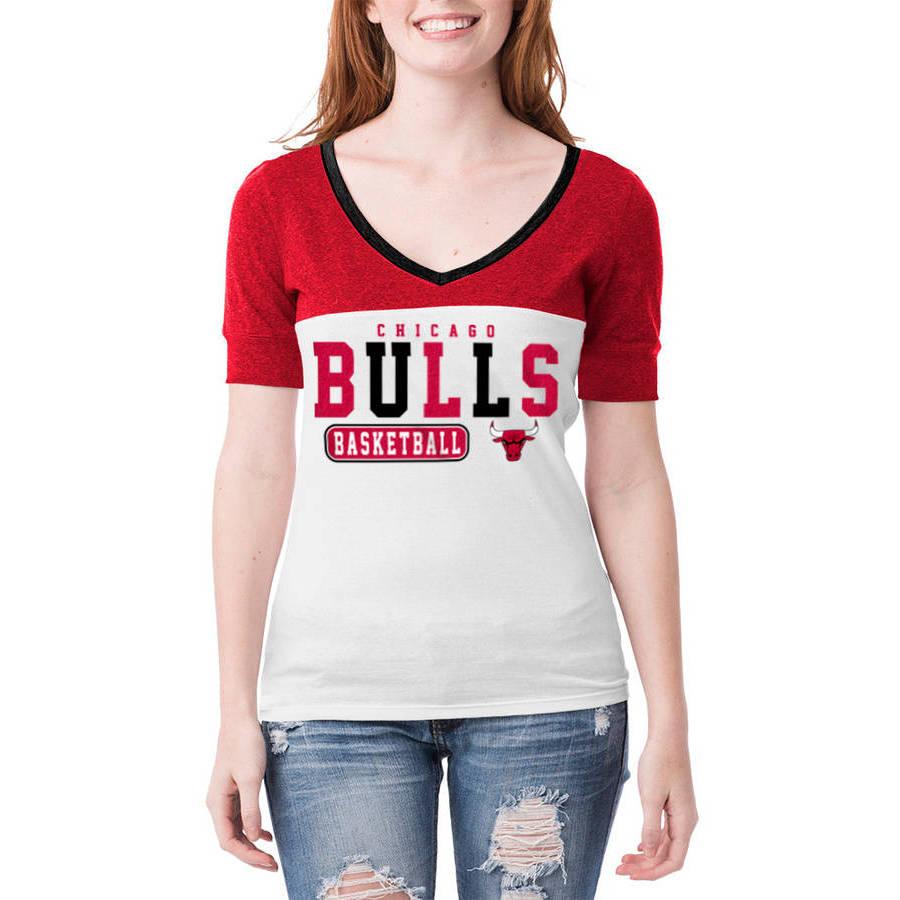 NBA Chicago Bulls Women's Cuffed Short Sleeve V Neck Tee