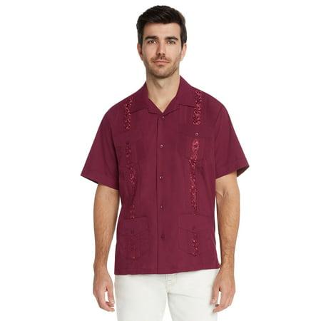 (9 Crowns Essentials Men's Guayabera Button Down Shirt)