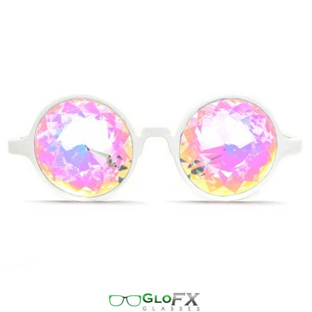 GloFX White Kaleidoscope Glasses- Rainbow - Rainbow Glasses