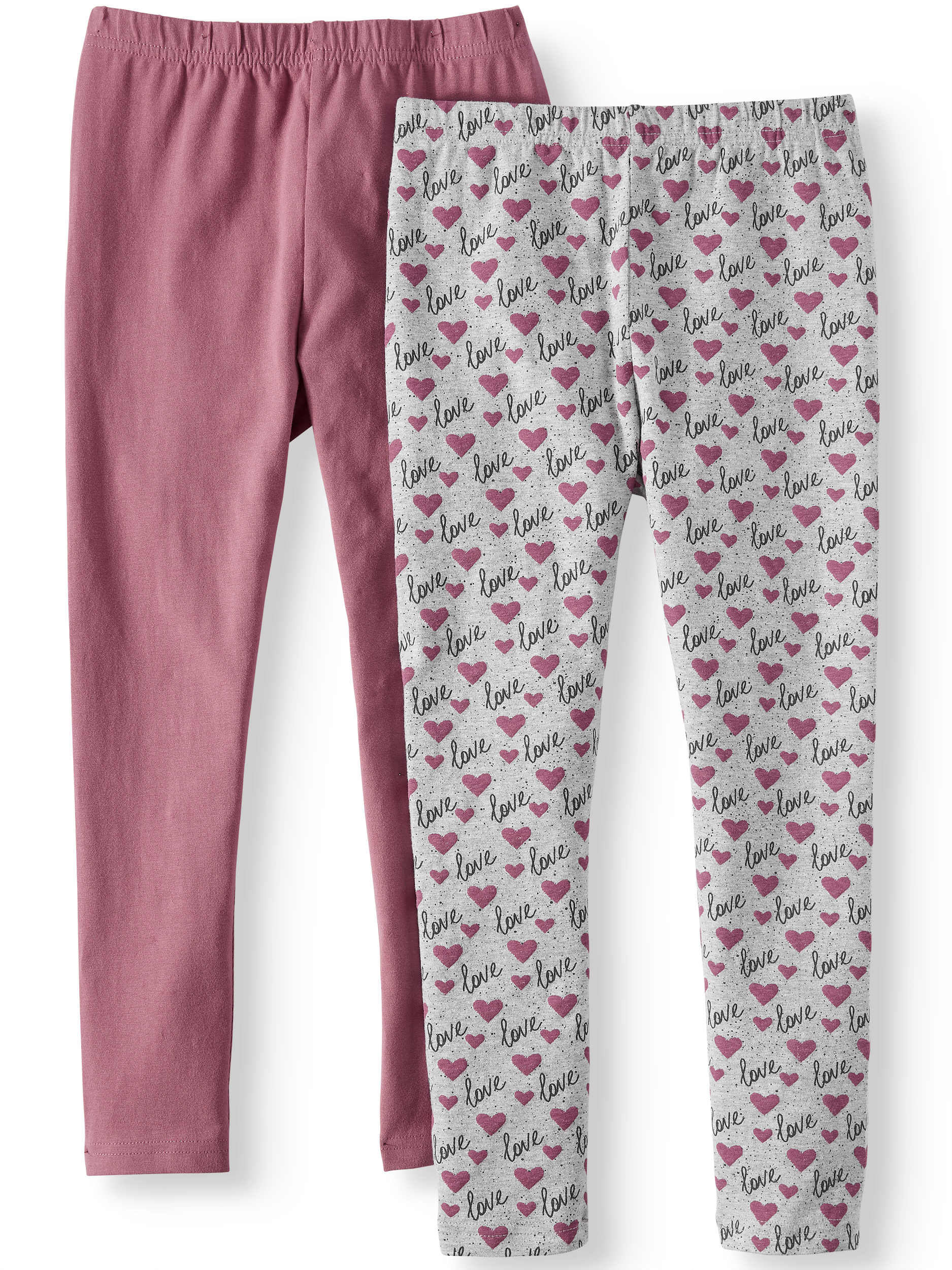 Girls' Heart Print and Solid Leggings, 2-Pack