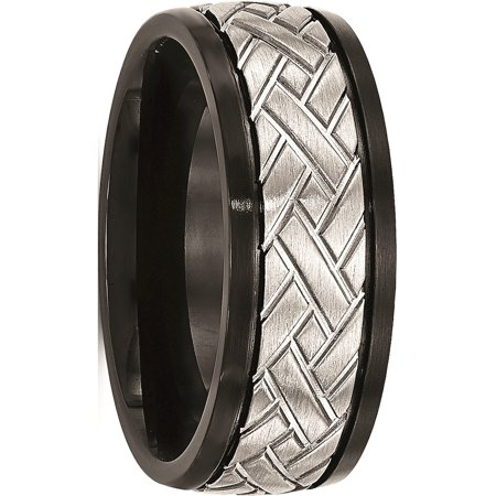 JbSP- Stainless Steel Brushed Black IP Grooved Ring - image 6 of 6