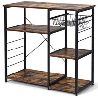 Costway Industrial Kitchen Baker's Rack Microwave Stand Utility Storage Shelf w/ 6 Hooks