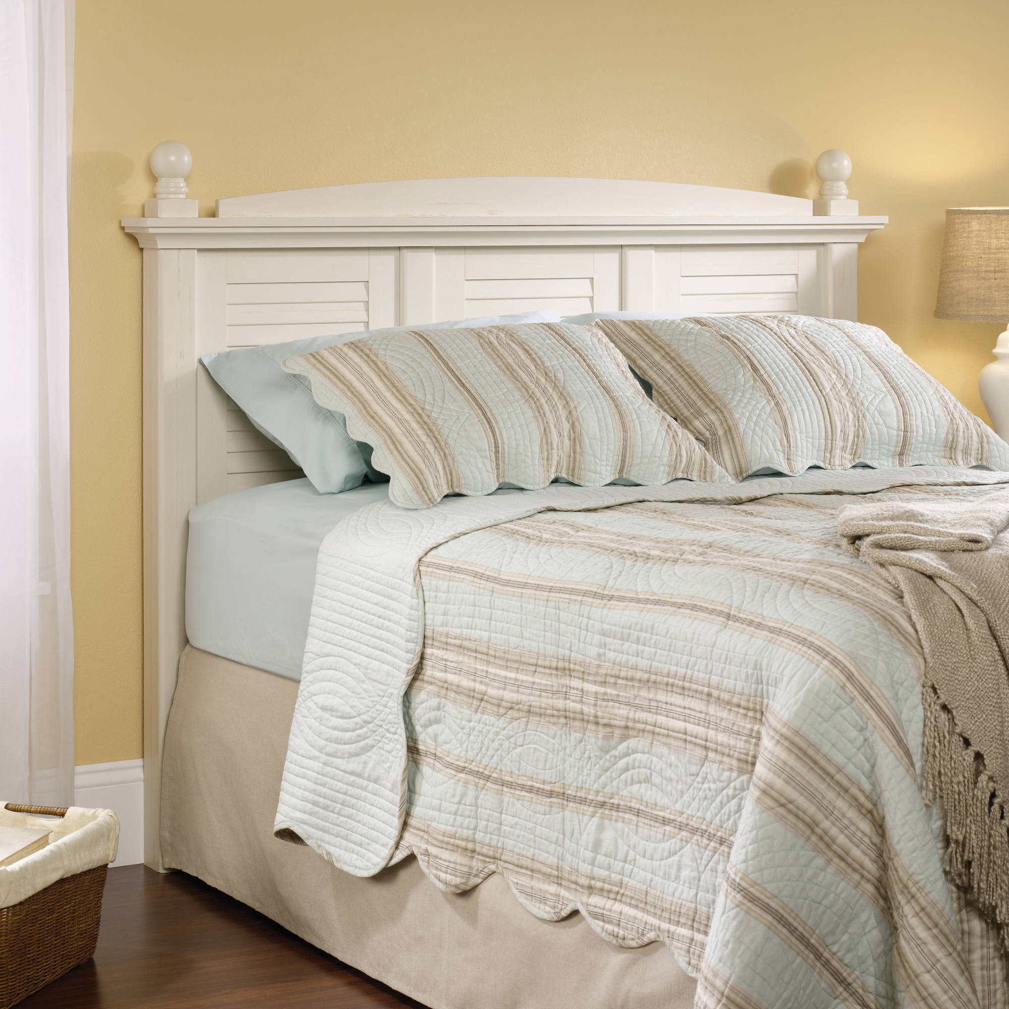 Sauder Harbor View Full / Queen Headboard, Antiqued White