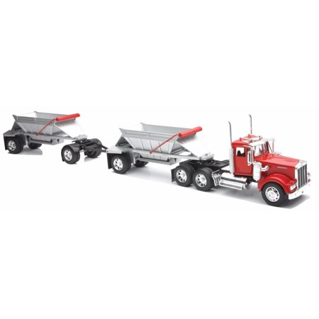 New Ray Toys 1:32 Scale Kenworth W900 Double Belly Dump Truck Semi Truck Trailer