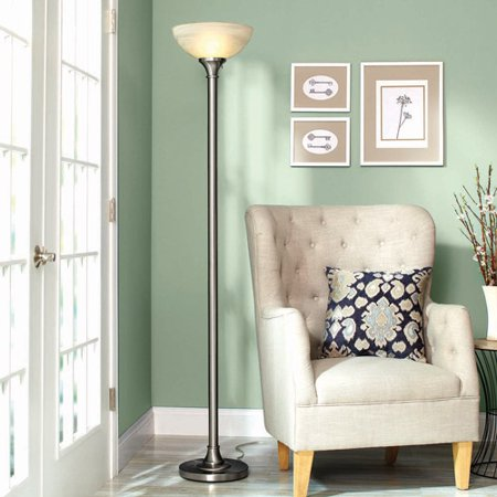 Better Homes and Gardens Contemporary Floor Lamp, Brushed Nickel ...