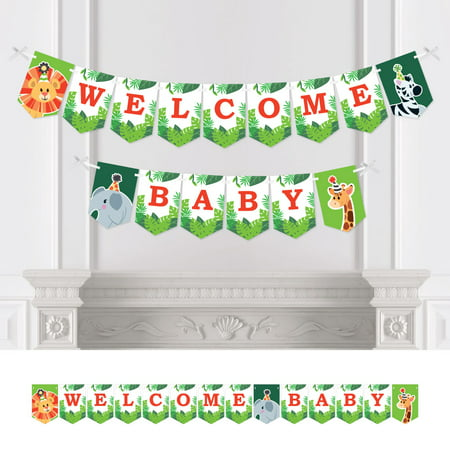 Jungle Party Animals - Safari Zoo Animal Baby Shower Bunting Banner - Party Decorations - Welcome Baby](Jungle Baby Shower Banner)