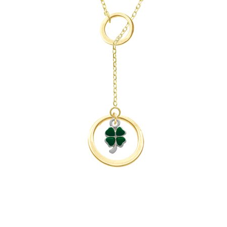 Mini Green Four Leaf Clover With Heart Leaves Gold Tone Double Karma Lariat Necklace