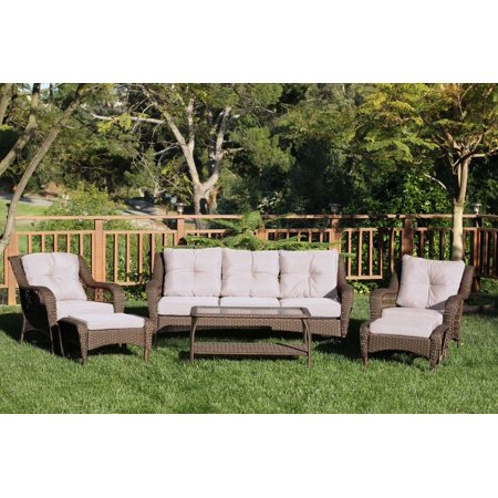 6-Piece Espresso Resin Wicker Outdoor Patio Seating Furniture Set - Tan Cushions ()