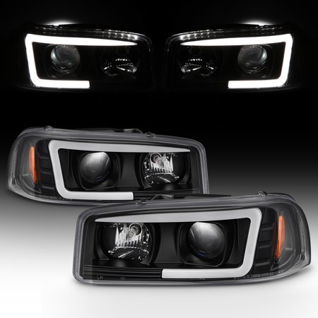 For 99-06 GMC Yukon Sierra 1500/2500 HD/3500 Black LED Tube Projector Headlights