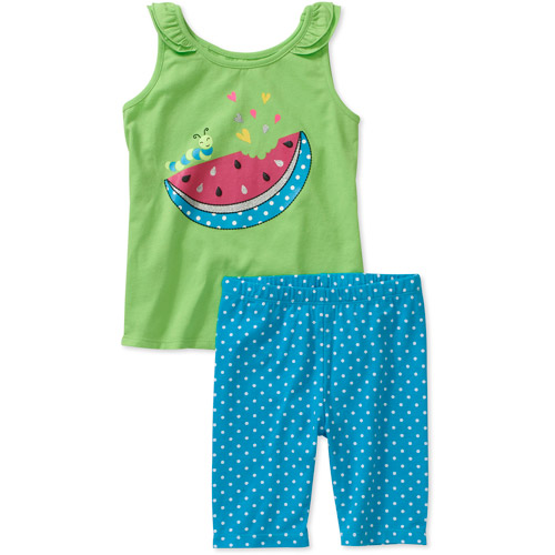 Healthtex Baby Girls 2 Piece Ruffle Tank and Dot Short Set