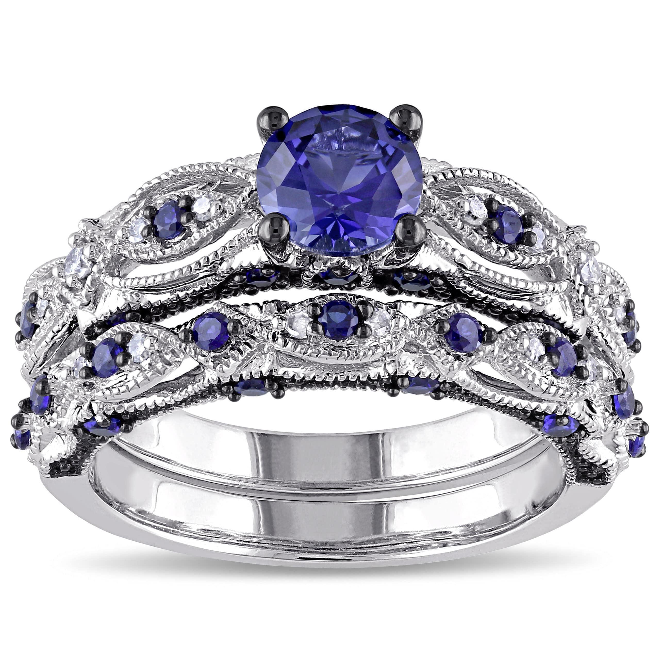 Size 7 Vintage Blue Sapphire Wedding Ring Women/'s 10KT Gold Rhodium Jewelry