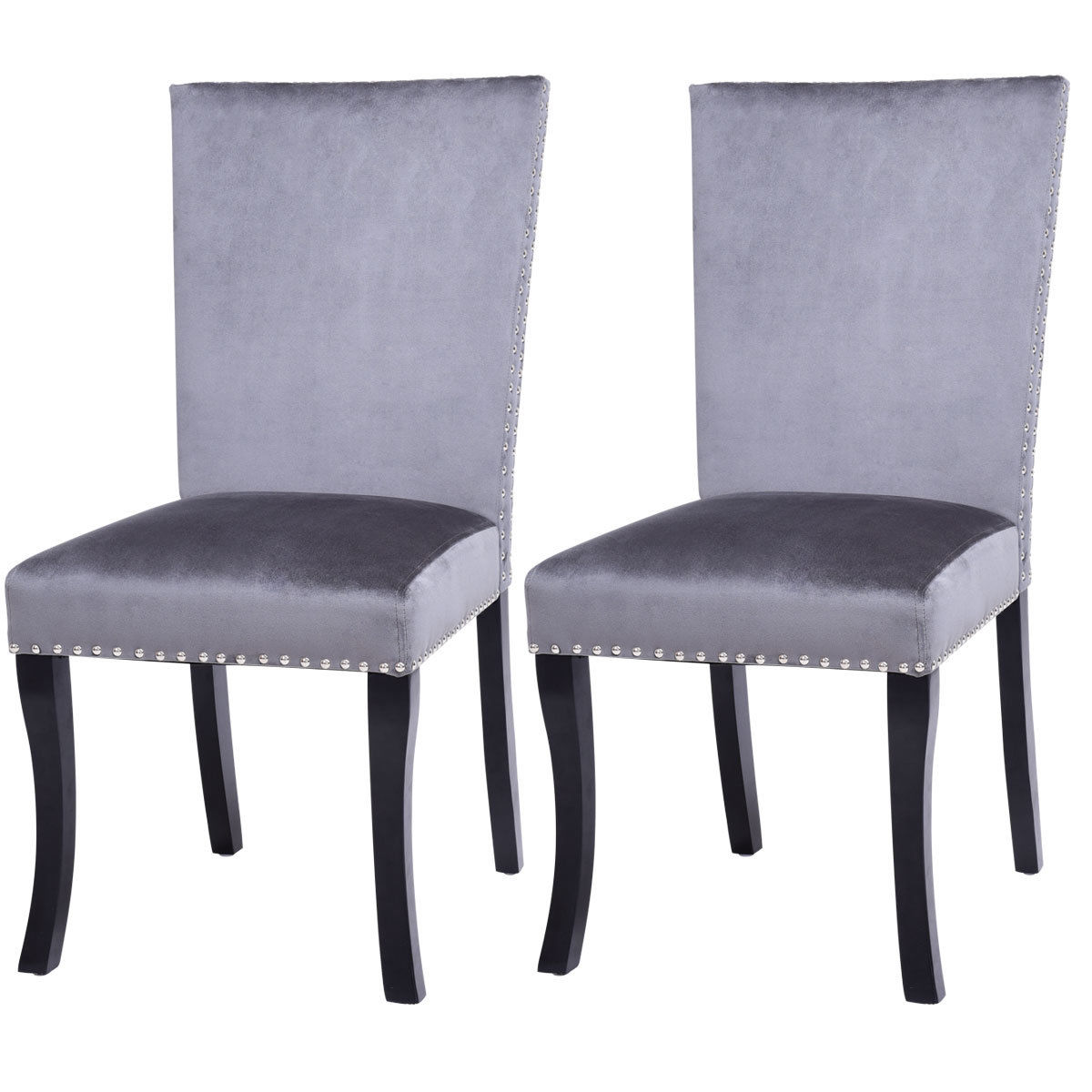 Costway Set of 2 Dining Chairs Nailhead Upholstered Padded Seat Armless Solid Wood Legs
