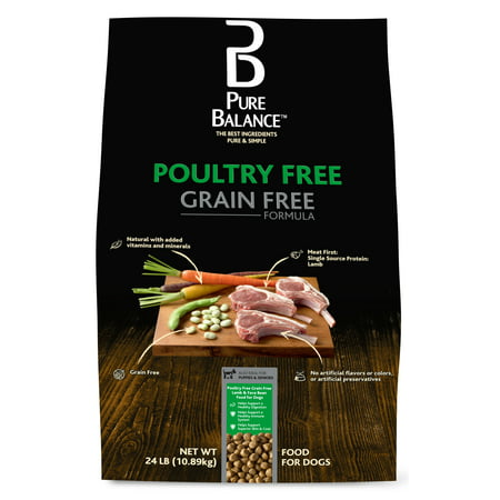 Pure Balance Poultry-Free Grain-Free Dry Dog Food Formula, Lamb & Fava Bean, 24 lbs