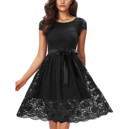 Floral Lace Dress, One Sight Vintage Contrast Bow Cocktail Party Evening Dress Casual Flare Dress, Three Colors -