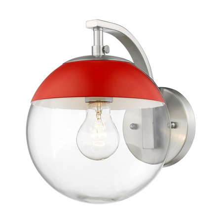 Dixon Sconce in Pewter with Clear Glass and Red
