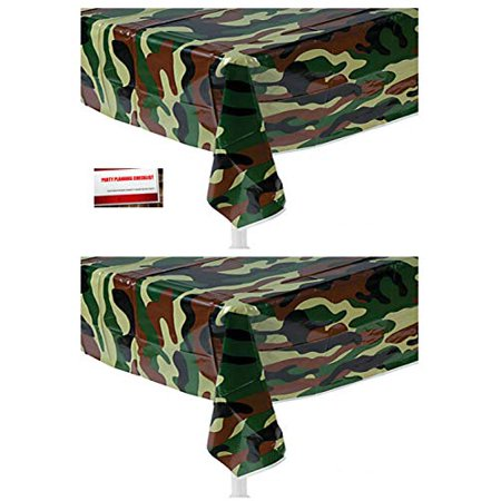 (2 Pack) Camo OD Green Camouflage Military Army Marines Plastic Table Cover 54 X 108 Inches (Plus Party Planning Checklist by Mikes Super Store)