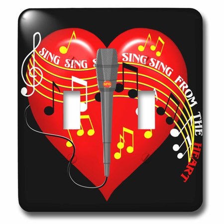 3dRose Large red heart, musical notes, microphone, Sing From the Heart text, dark background - Double Toggle Switch (lsp_11617_2)