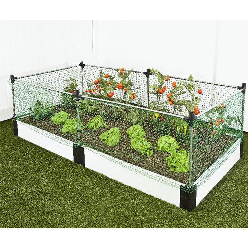 """Frame It All Raised Garden White 1"""" 4' x 8' 1 Level c/w Animal Barrier"""