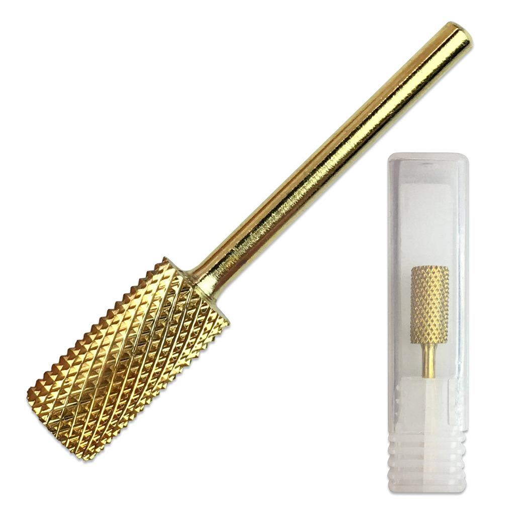 "Beauticom 3/32"" Flat Top Large Barrel Gold Carbide Nail Drill Bit - Fine Grit"