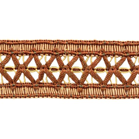 Olde English Toffee (Vintage 1.5 Inch (3.8cm) Wide Brown, Light Gold Gimp Braid Trim - English Toffee 08 (Sold by The Yard))