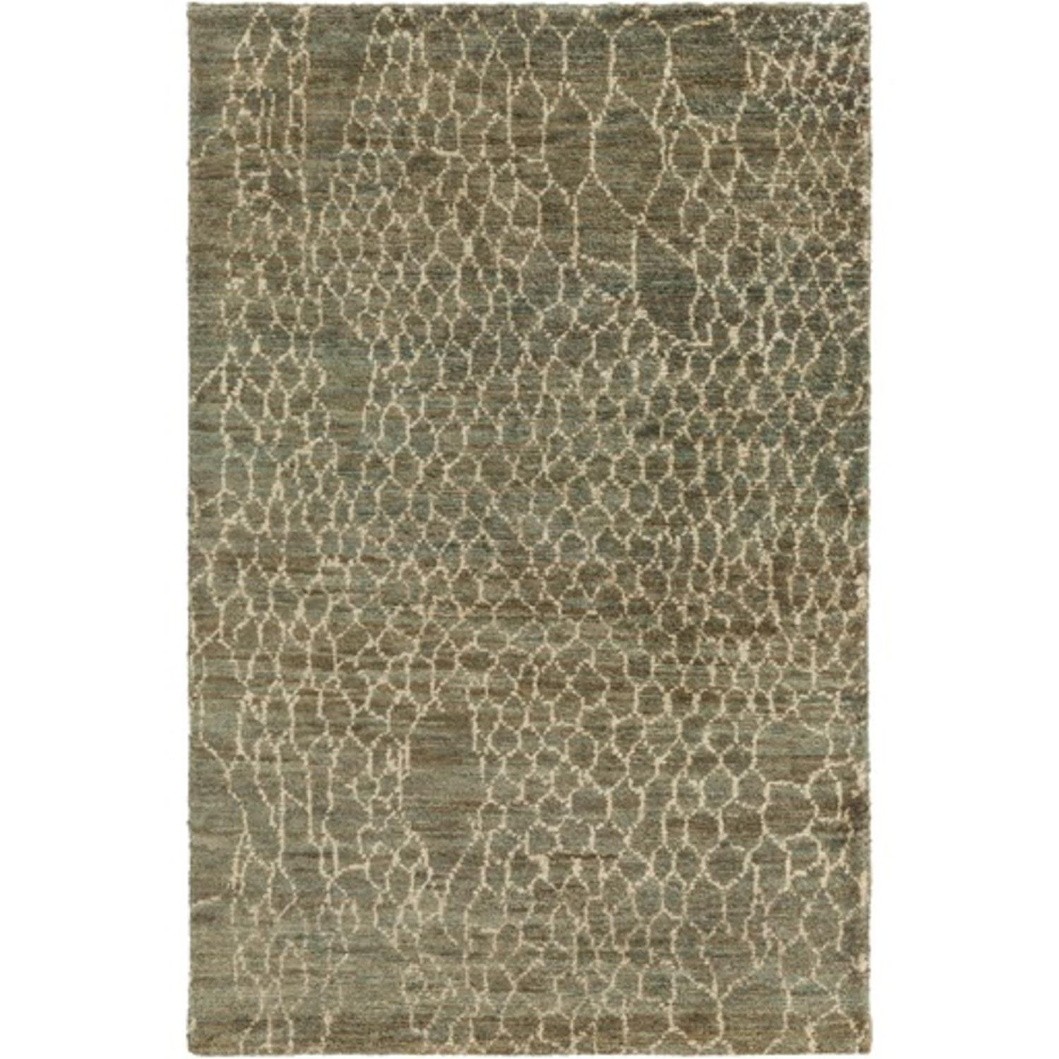 8' x 11' Torn Mesh Olive Green and Ivory White Hand Knotted Area Throw Rug