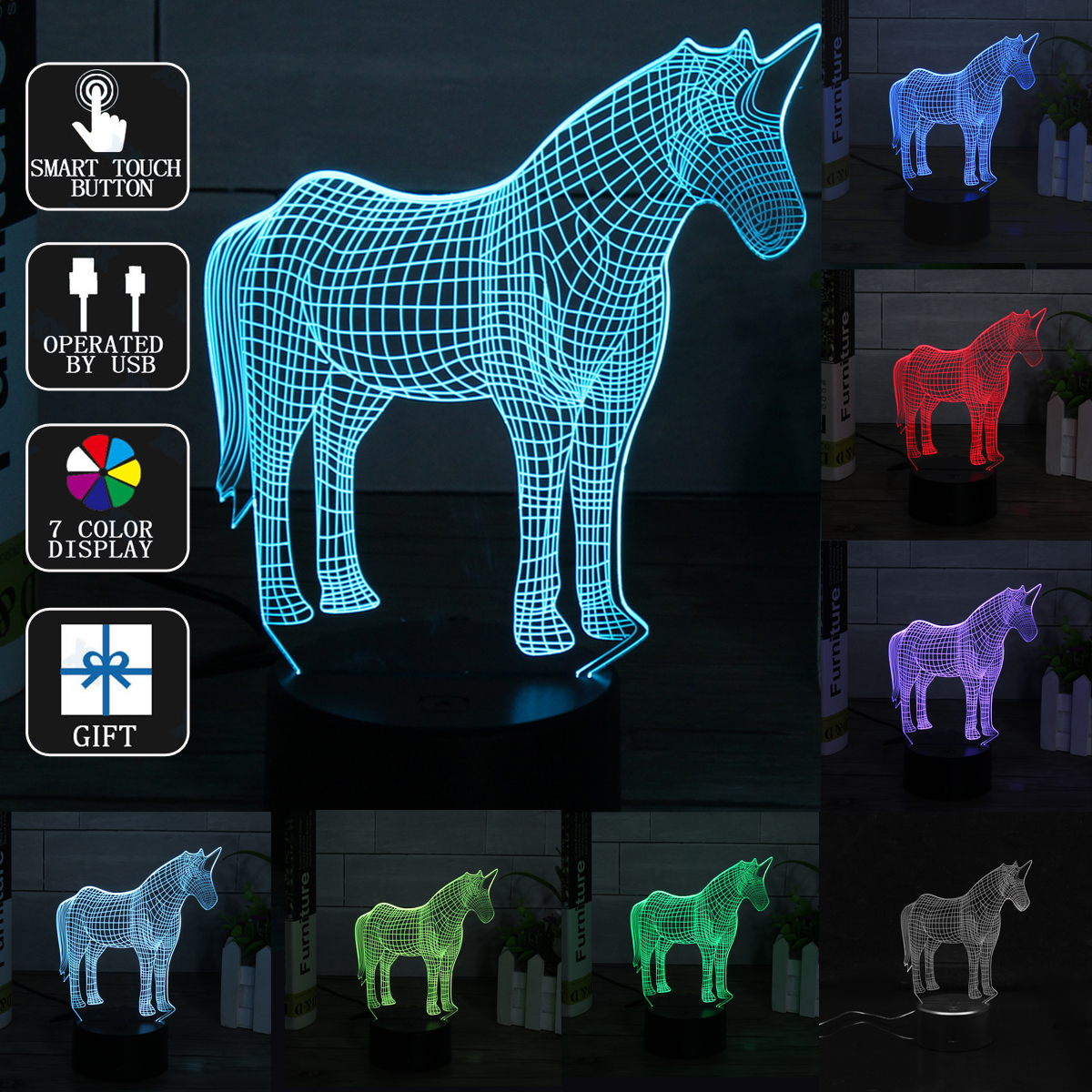 3D LED Night Light Lamp 7 Color Touch Switch Kids Children Christmas Birthday Gift Home Bedroom Decor
