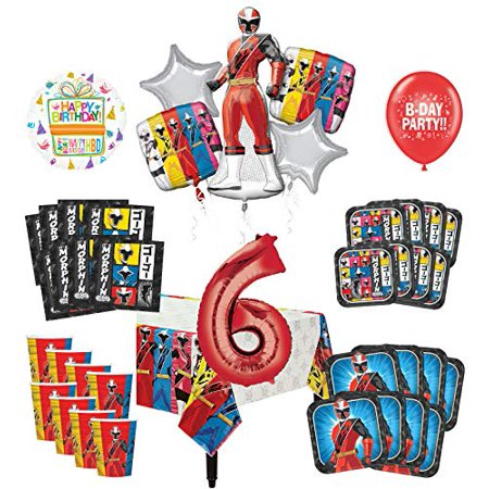 Mayflower Products Power Rangers 6th Birthday Party Supplies 8 Guest Decoration Kit and Balloon Bouquet - Power Ranger Party Supplies