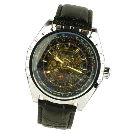 - Black Leather Strap Gold Case Chronograph Dials Clock Mechanical Automatic Watch