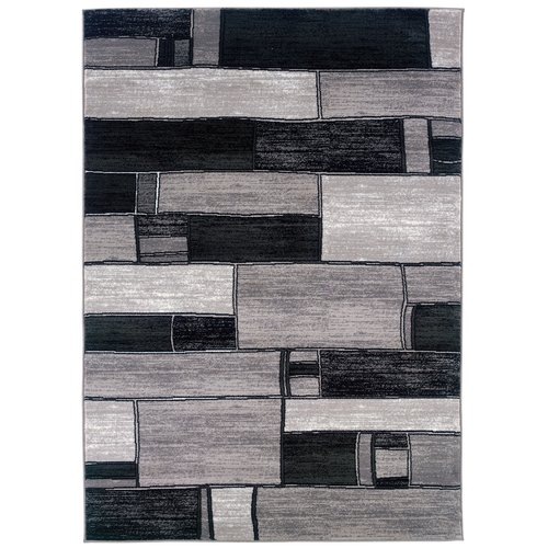 LR Resources Adana Oblong Blocks Charcoal/Gray Area Rug