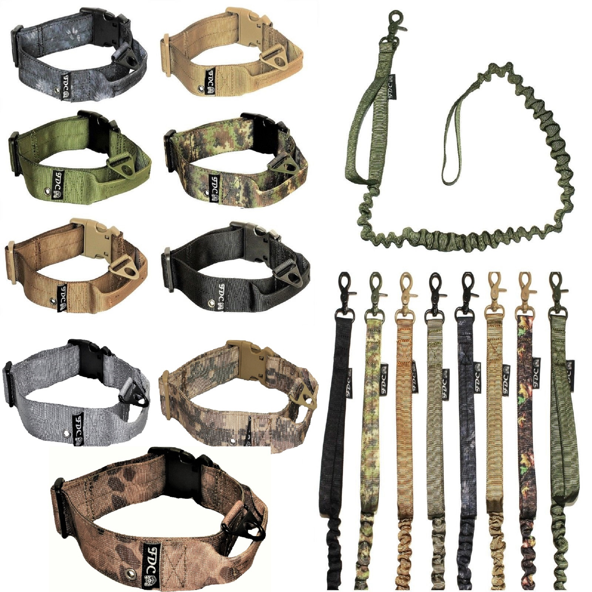"SET of Tactical COLLAR and LEASH Dog Military Army HEAVY DUTY Traning with HANDLE Width 1.5in Plastic Buckle  M: Neck 12"" - 14"