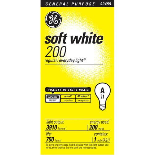 Ge Aline Bulb White 200 W Lumens 3405 A21 Med Base Sleeved