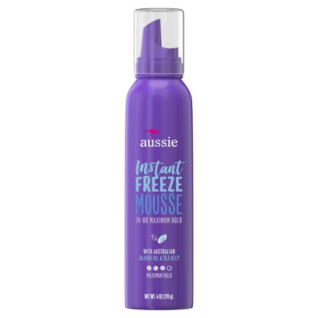 (2 pack) Aussie Instant Freeze 24-Hour Hold Mousse with Jojoba & Sea Kelp, 6.0 oz (Tresemme 24 Hour Mousse)