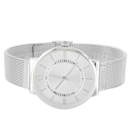 - Techno Pave Watch Silver Tone Round Face Analog Mesh Bracelet Band Water Resistant
