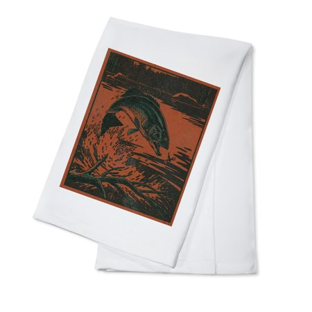 Nature Magazine - View of a Bass Jumping out of Water to Eat a Dragonfly (100% Cotton Kitchen Towel) - Dragonfly Boutique