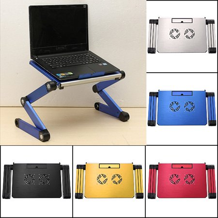 Portable 360°Adjustable Foldable Laptop Notebook Desk Table Stand Bed Tray 2Fan