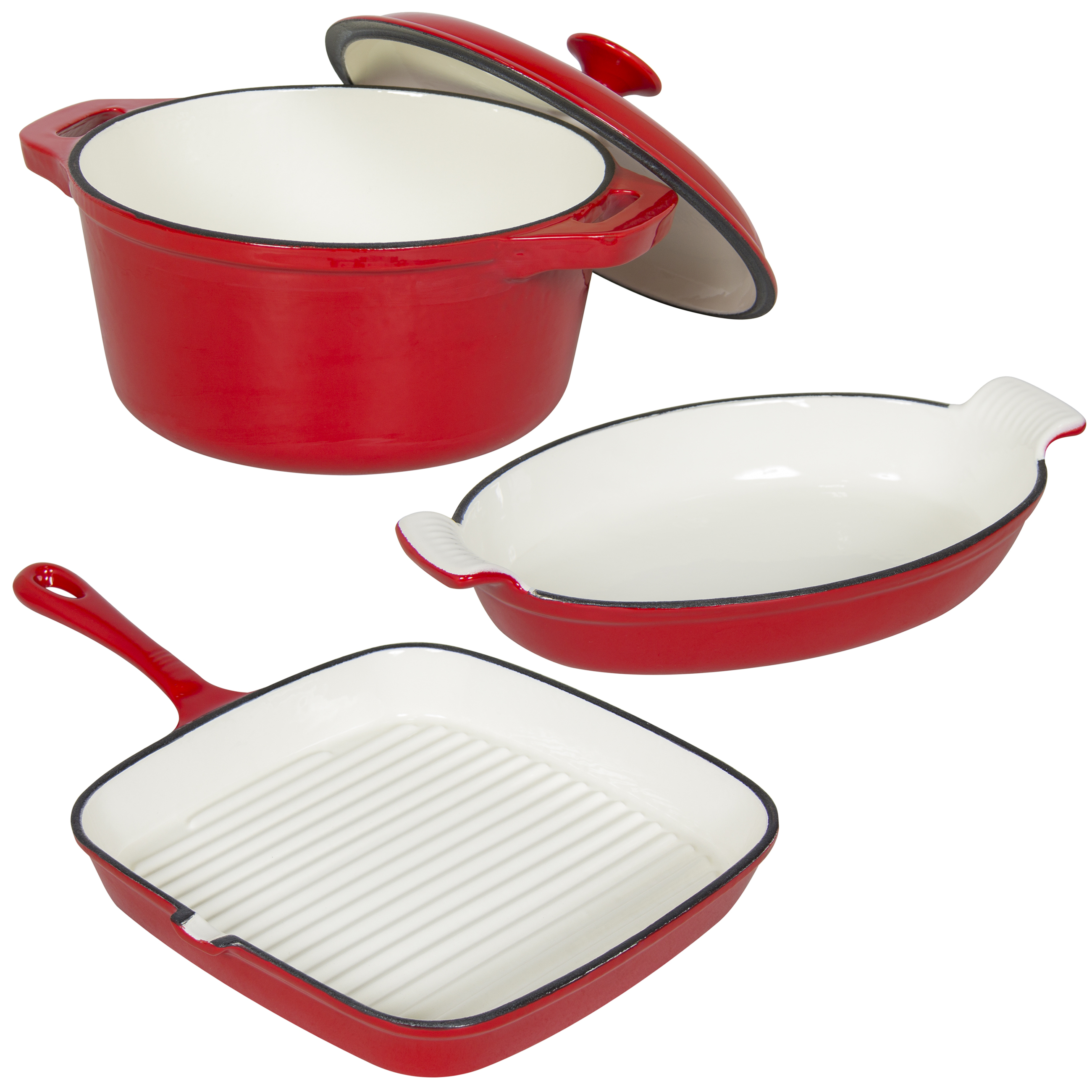 Best Choice Products Cast Iron Dishes Set of 3 Casserole,...