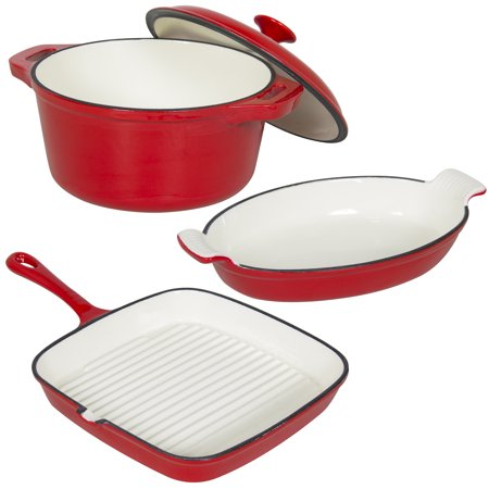 Best Choice Products Set of 3 Cast Iron Casserole, Gratin, and Griddle Oven Cookware Dishes Set -