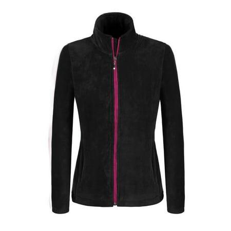 (Elecmall Women Casual Stand Neck Long Sleeve Fleece Zip Hoodie Sweatshirt Coat Tops Elec)