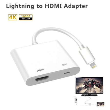 Le Lightning Digital Av Adapter Hdmi Connector Connecting For Iphone 5s 6s 7 8 Plus Ipad Ipod To Hd Tv Monitor Projector 1080p