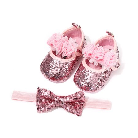 Bling Sparkle Sequins PU Infant Newborn Baby Girls Crib Shoes+Headband