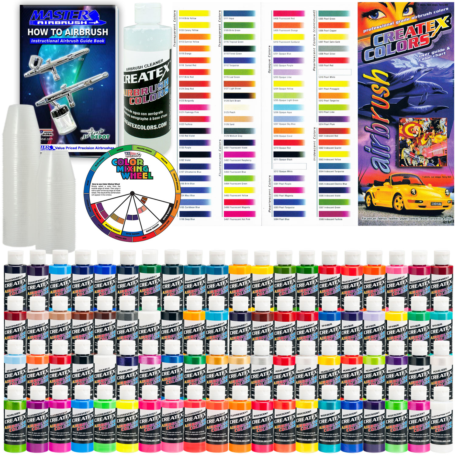 Createx DELUXE ALL 80 COLORS SET 2oz Airbrush Hobby OPAQUE TRANSPARENT Paint