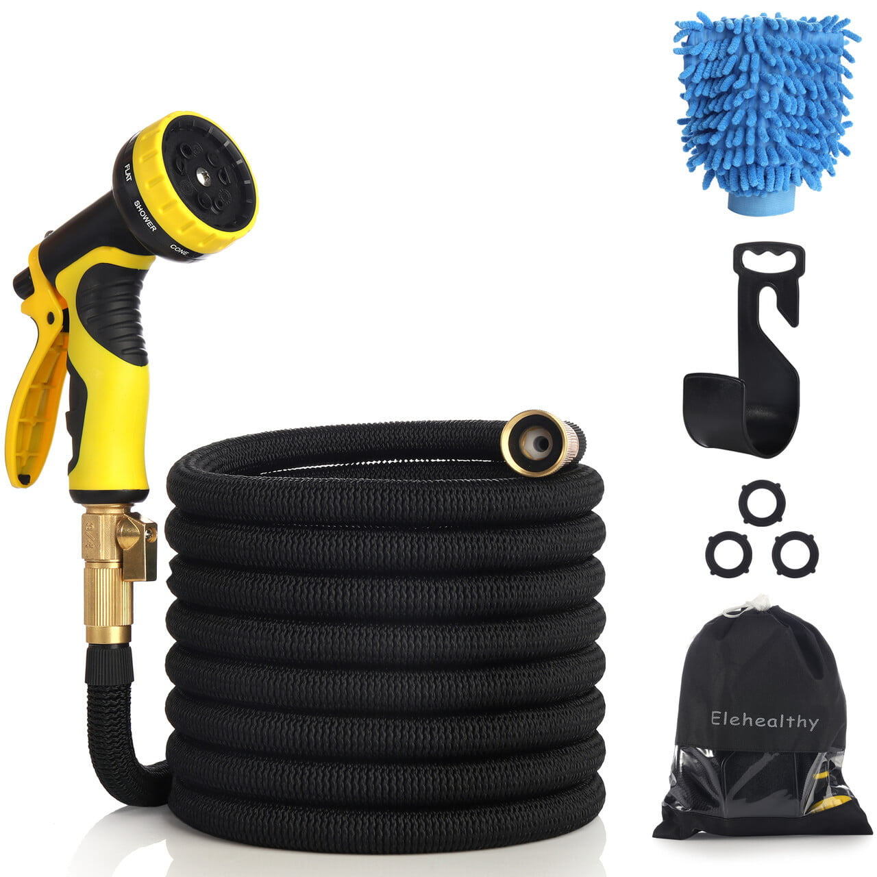 75//100 ft Expandable Garden Hose Flexible Expanding Water Hose with Spray Nozzle