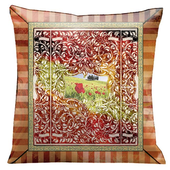 Lama Kasso 95S Italian Kitchen Pillow with Garden Mural in Red and Orange Stripes 18 in. Square Suede Pillow
