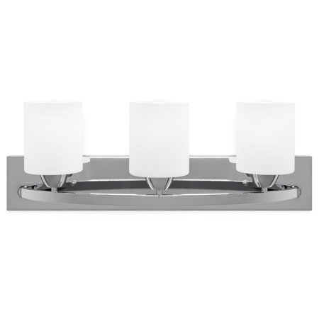 Best Choice Products 3-Light Vanity Wall Sconce Lighting Fixture for Home, Bathroom, Bedroom w/ Frosted Glass - Chrome - Light Chrome Wall Bar