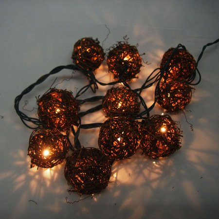 Christmas Rattan Ball 10-Light Set, 2-Inch ()