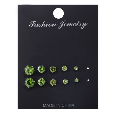 5 Pairs/Lot Simple Cubic Alloy Earrings Men Women 6 Claws Round Zircon Ear Nail Ladies Fashion Charm Ear Stud Wedding