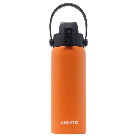 Aquatix (Orange, 21 Ounce) Pure Stainless Steel Double Wall Vacuum Insulated Sports Water Bottle Convenient Flip Top Cap with Removable Strap Handle - Keeps Drinks Cold 24 hr/Hot 6 hr ()